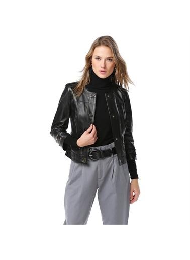DERİCLUB DERİCLUB YB-2105 Gerçek Deri Kadın Ceket Siyah